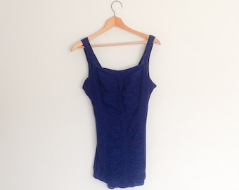 4ff944d603862 1950s Catalina Sutex Bathing Suit Navy Blue Vintage