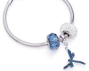 Dragonfly Pavé Charm Bracelet made with Swarovski® Charms