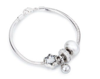 Crystal Pearl Pendant Charm Bracelet made with Swarovski® Charms