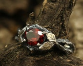 Leaf on the branch engagement garnet ring, Unique women 39 s garnet ring, Leaves ring, Forest engagement ring, Oval cut ring, Sterling silver