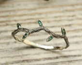 Tiny branch with leaves ring, Emerald engagement ring, Curved sterling silver ring, Woman 39 s dainty ring, Delicate twig ring, Gift for her