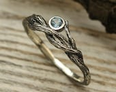 Delicate braided twig engagement ring, Branch ring with Topaz, Women topaz ring, Nature ring for her, Sterling silver, Gift for girlfriend