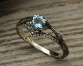 Unusual chevron engagement ring with Topaz, Delicate branch engagement ring, Tree sterling silver V-ring, Unique topaz ring for girlfriend