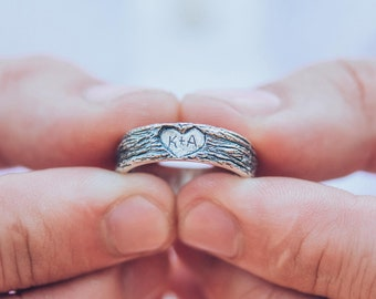 Family heart wedding band, Family tree ring, Initial wedding band, Heart ring, Rustic ring, Personalized ring, Love wedding band,Silver ring