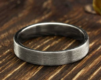 4mm simple silver wedding band in matte finish, Men's or women's wedding ring, Silver matte ring, Sterling silver plain band, Flat ring