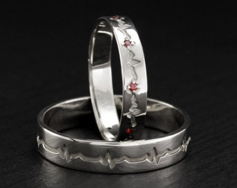 Heartbeat wedding bands, Silver heartbeat wedding rings, Matching rings, Silver wedding bands, His and hers rings set, Unique silver bands