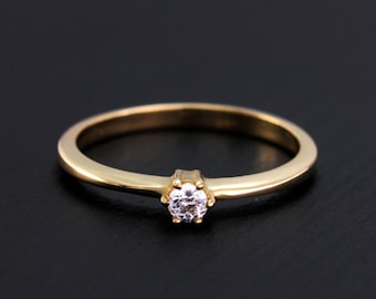 14k solid gold engagement ring, Women dainty ring, Small engagement ring, Women unique ring, Women gold ring, Anniversary gift, Ring for her
