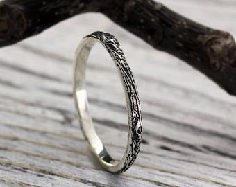 Tree bark sterling silver thin wedding band, Womens tree bark wedding ring, Tiny wedding ring, Tree wedding band, Women's small ring