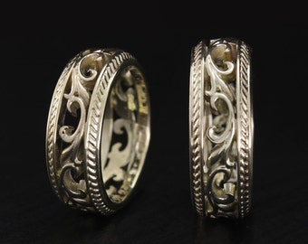 White gold wedding bands, Filigree wedding rings, Nature wedding bands set, Vintage style ring set, Unique wedding rings, Couple rings