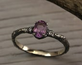 Small branch white gold engagement ring, Amethyst and Diamonds branch ring, Tree engagement ring, Women 39 s branch amethyst and diamond ring