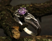 Branch and leaves engagement ring with amethyst, Unique branch ring, Tree bark ring in silver, Women 39 s branch ring, Unusual engagement ring