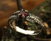 Branch and oak leaves engagement ring with ruby, Tree bark engagement ring, Silver branch engagement ring, Unique womens engagement ring