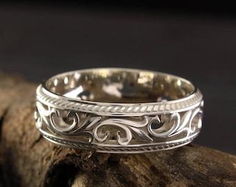80s Vintage Sterling Silver Leaf Filigree Band Style Ring