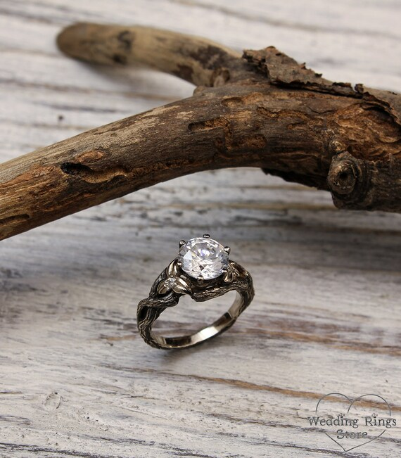 Branch White Gold Engagement Ring With Swarovski And Diamond, Unique Engagement Ring, Unusual Women's Branch Ring, Gift For Women by Etsy