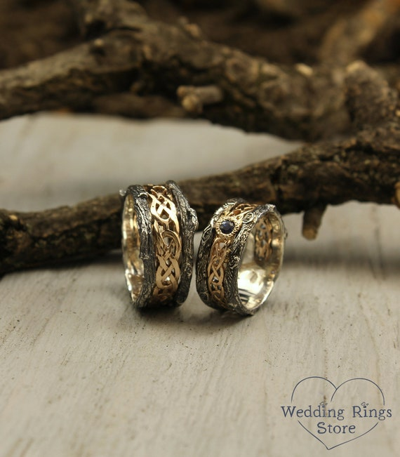 Celtic pattern and tree bark matching wedding bands with sapphire, His and her celtic bands set, Tree rings set, Couple celtic bands