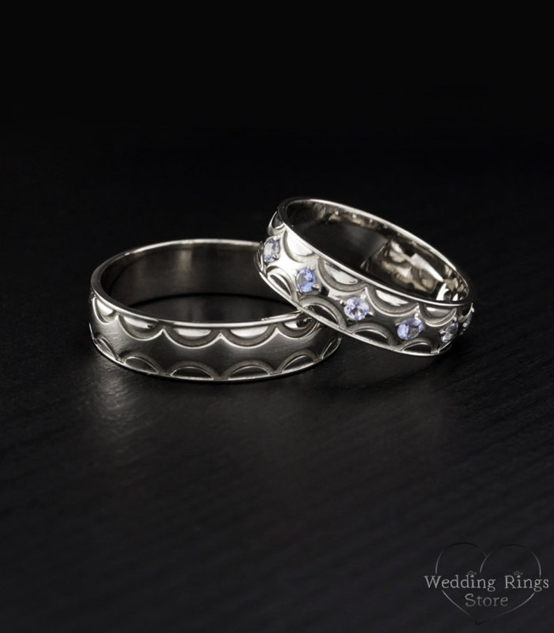 Couple Wedding Rings Silver Wedding Bands His And Hers Etsy