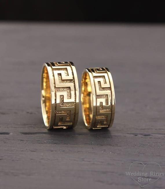 Greek Style 14k Yellow Gold Bands Set Greek Matching Rings Etsy
