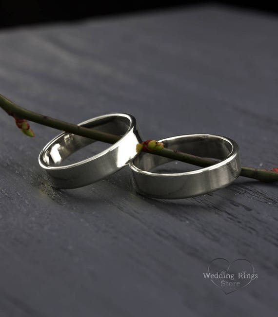 Simple Silver Wedding Ring Set His And Hers Wedding Bands Etsy