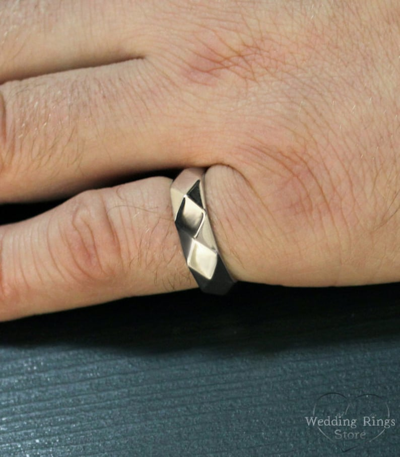 Faceted wedding band Faceted ring Big silver ring Unique wedding ring Men women band sterling silver Silver faceted wedding ring
