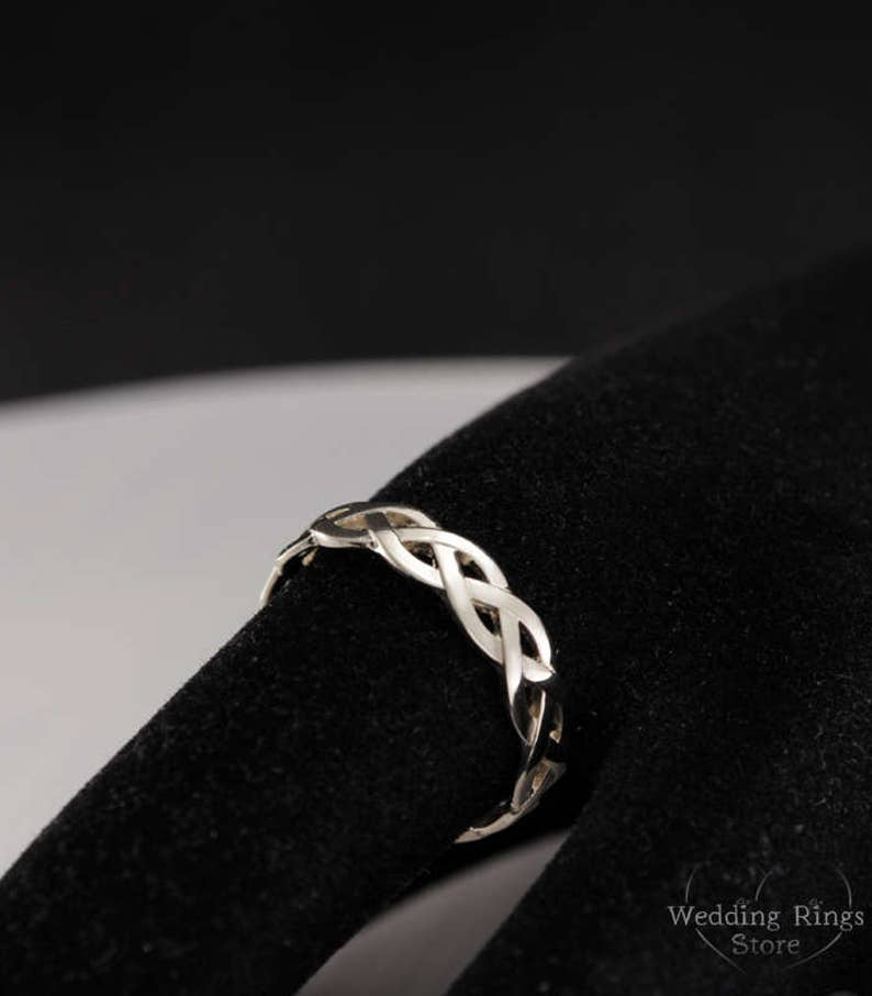 Braided wedding band Unusual wedding band 14k solid white gold wedding ring 5mm Twisted wedding band Unique gold ring Wedding ring