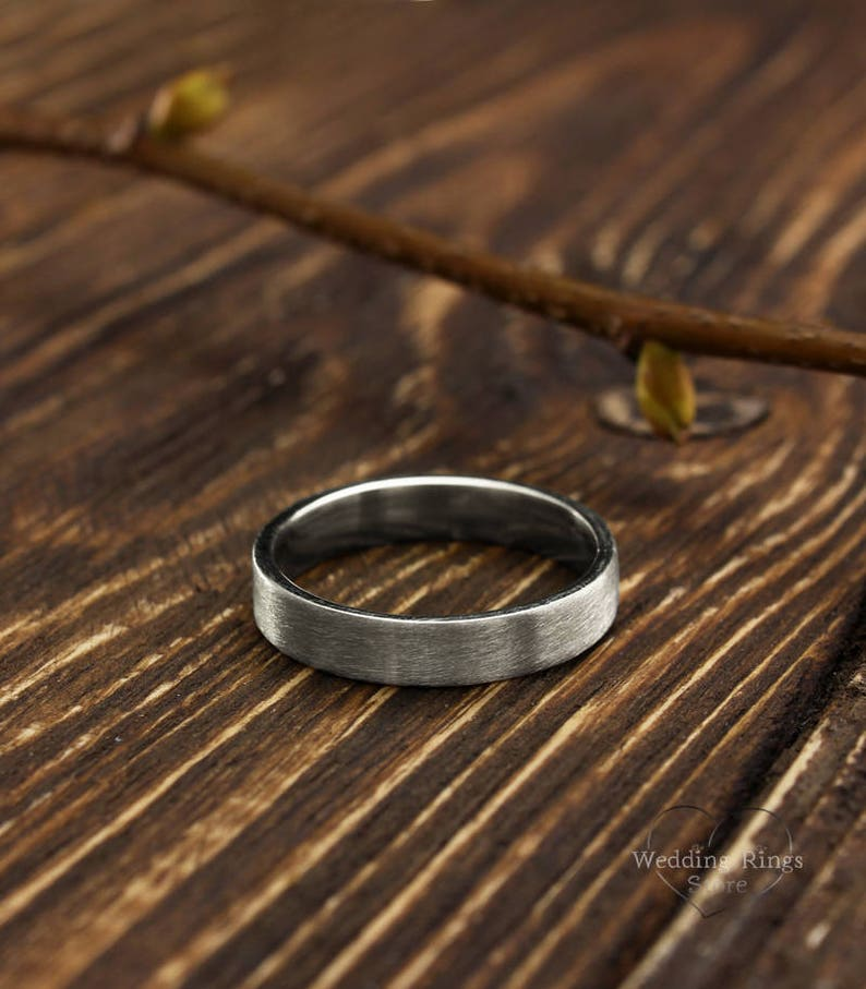 4mm simple silver wedding band in matte finish Men's or image 1