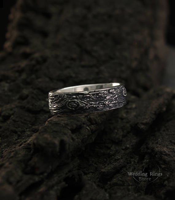 Silver Mens Botanical Wedding Band A large 5mm wide recycled sterling silver wedding band