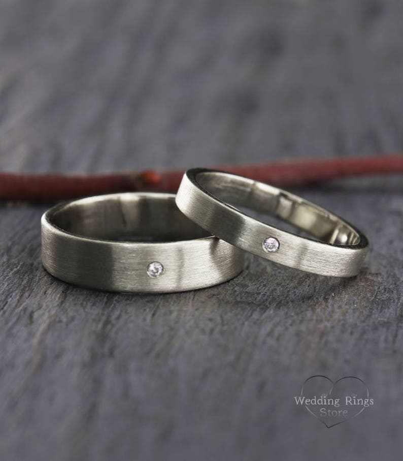Simple Wedding Ring.Diamond Silver Wedding Band Set Simple Wedding Rings His And Hers Wedding Bands Classic Rings Set Matte Wedding Bands Ring His And Her