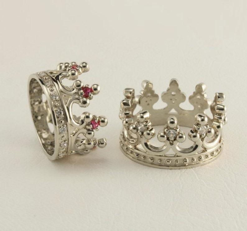 7a14cfb8ef17b Crown engagement rings set, White gold crown wedding bands, Royal wedding  rings, Women crown band, Men crown ring, Couple wedding bands