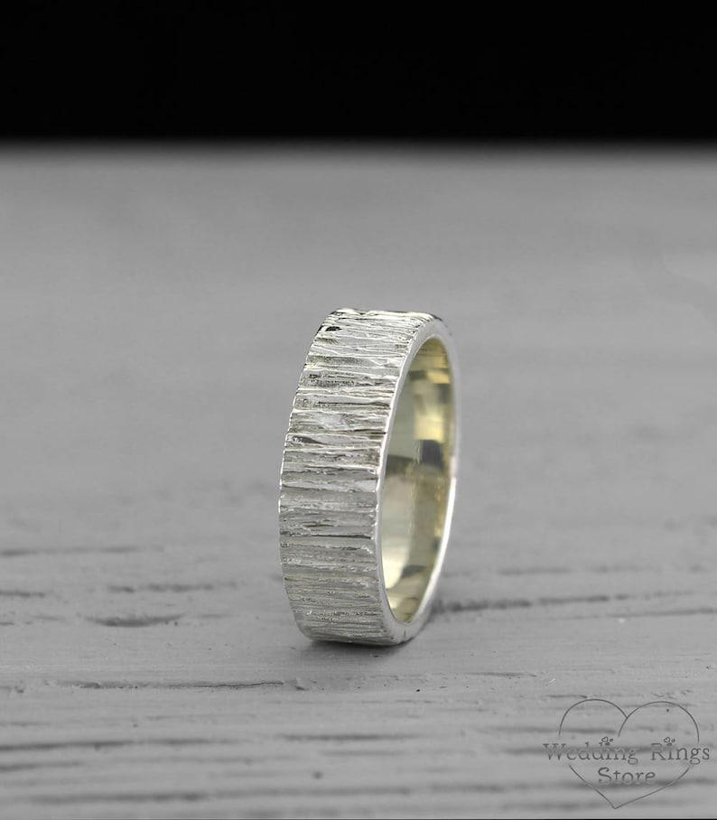 8068b6aa0d95 Anillo rústico para hombre anillo del árbol de plata banda