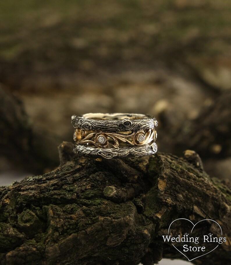 86897423ebab4 Tree bark and diamonds vintage style wedding band, Diamond wedding band,  Tree and vine ring, Unique tree wedding band, Unusual diamond ring