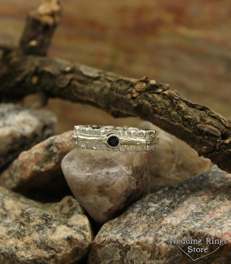 Tree bark band with sapphire Unusual tree wedding band 5mm wedding band Unique durable wedding band Rustic ring Sapphire silver ring
