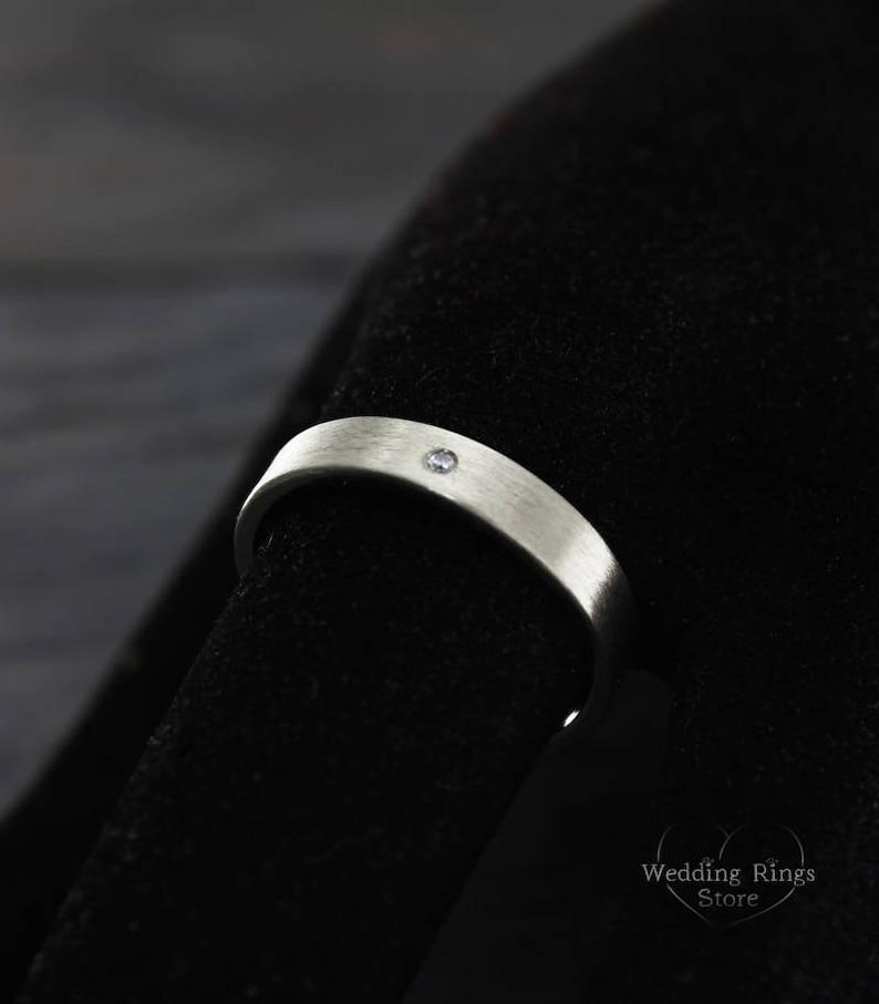 Silver engagement ring Diamond wedding band 4mm flat silver wedding band Sterling silver ring Plain ring Diamond simple ring