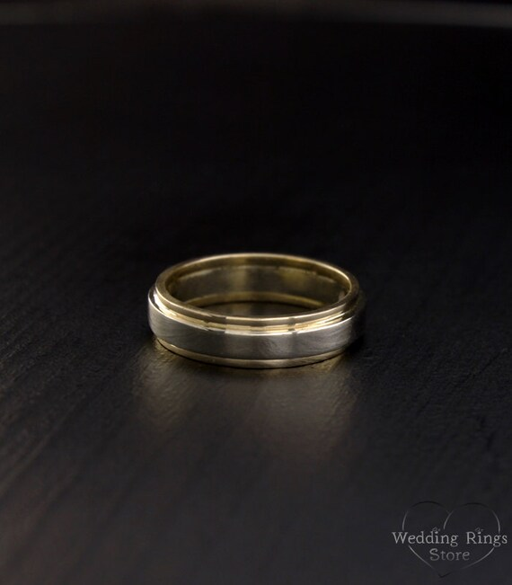 Unique two tone comfort fit wedding band for men and women in 14k white and yellow gold