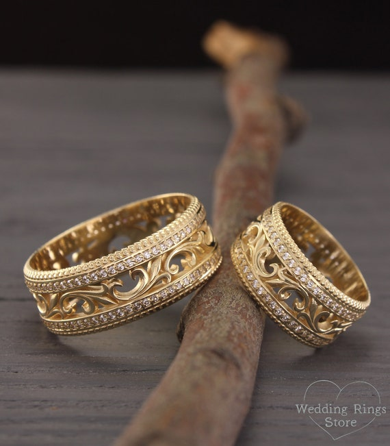 Filigree Engagement Rings Nature Wedding Rings Vintage Style Etsy