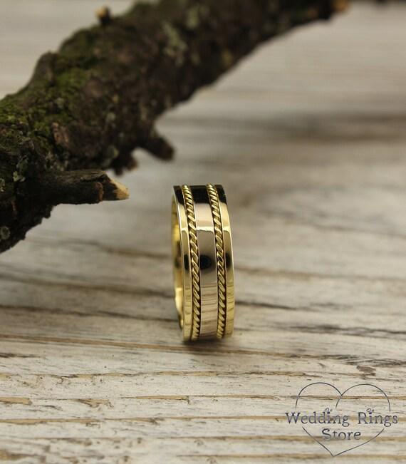 Men S Two Tone Gold Unique Wedding Band Mens Gold Wedding Band Two Color Gold Ring Mens Filigree Gold Ring Unique Gift For Men