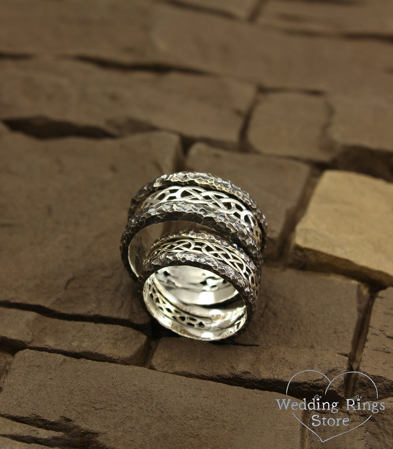Unique sterling silver bands Celtic bands set Matching celtic rings set Rock celtic bands set Hammered His and Her celtic wedding bands