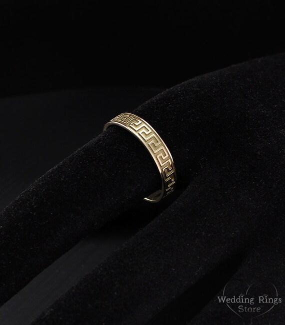 Greek Pattern Ring Greek Wedding Band Antique Style Ring Etsy