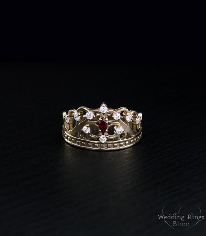 Anillo corona de oro de princesa tiara anillo anillo único  fcd138bea08