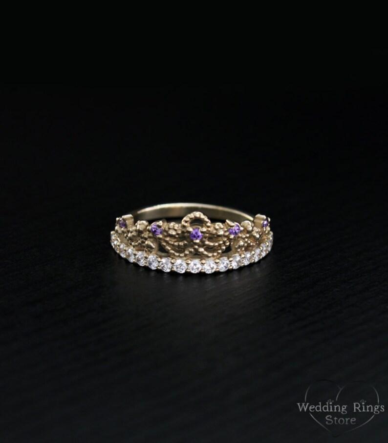 Anillo tiara corona delicado anillo princesa tiara anillo  80d1e4c6c03