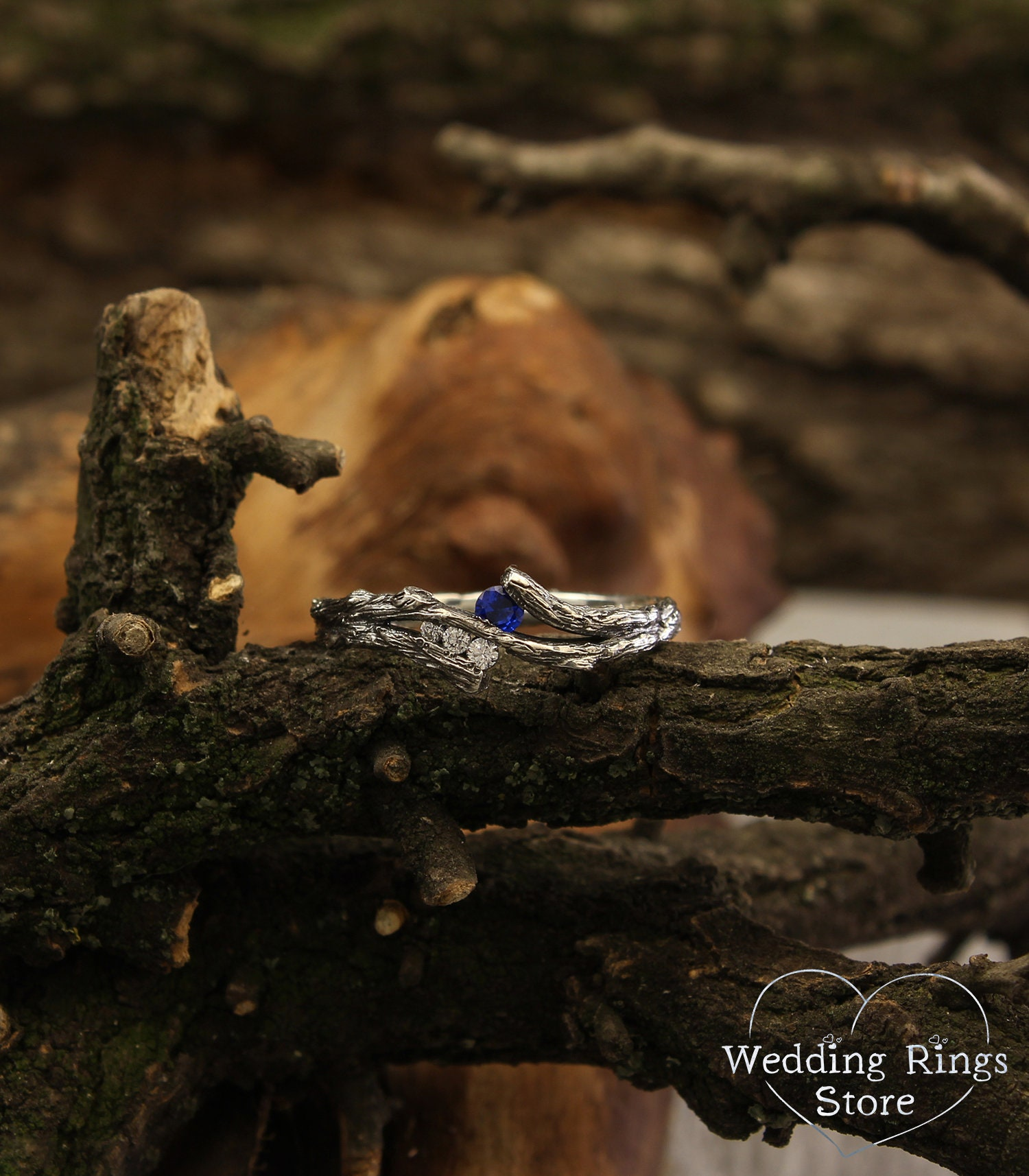 ring made of silver branches with leaves and sapphire. Gift for a woman