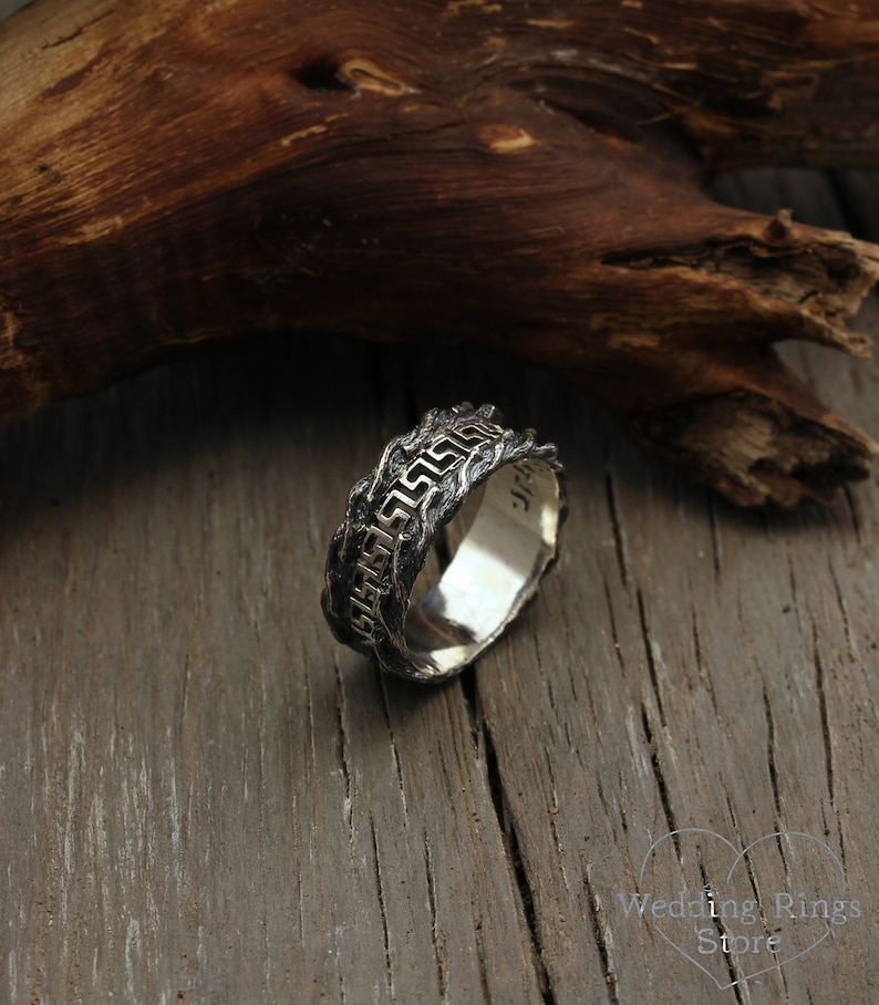 Wide ring Unique tree wedding band Branch wedding ring Greek key and tree bark wedding band Mens greek style tree band Nature ring