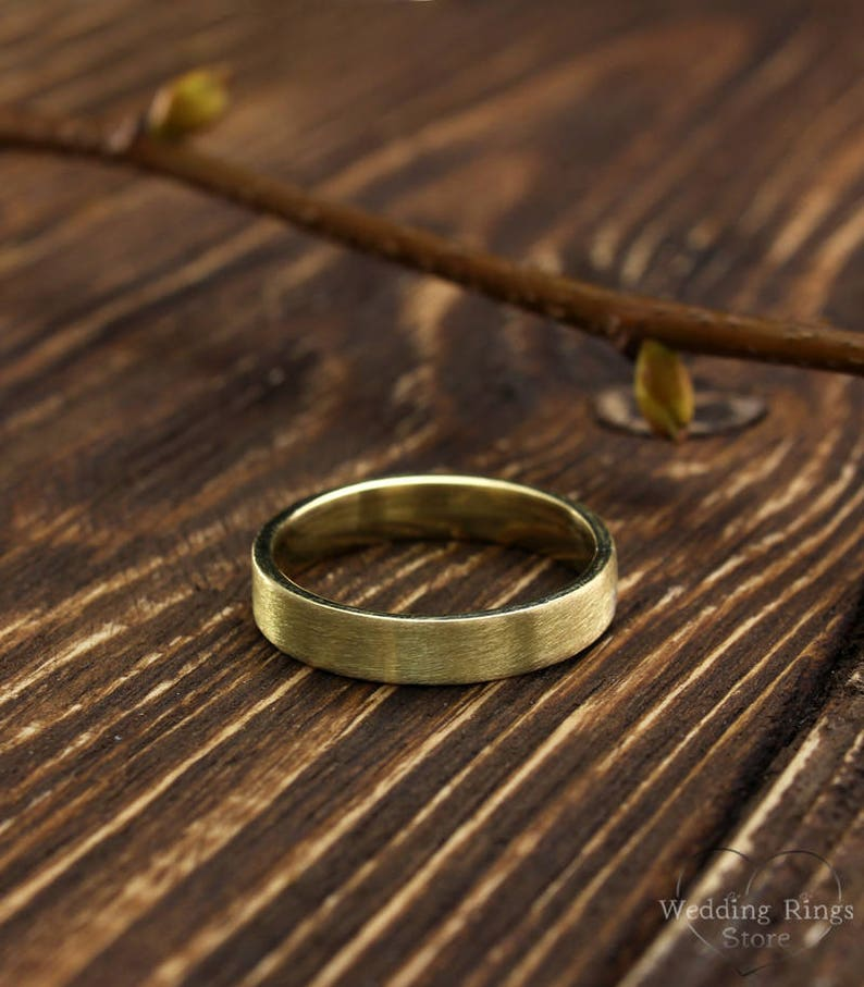 14k solid yellow gold band Simple wedding band Matte finish flat ring Traditional wedding ring 4mm yellow gold classic wedding ring