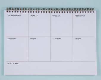 Weekly Planner Desk Pad A4 , Undated Weekly Planner, Productivity Planner, Weekly Wirebound Notebook, Weekly Spiral Pad, Weekly Schedule