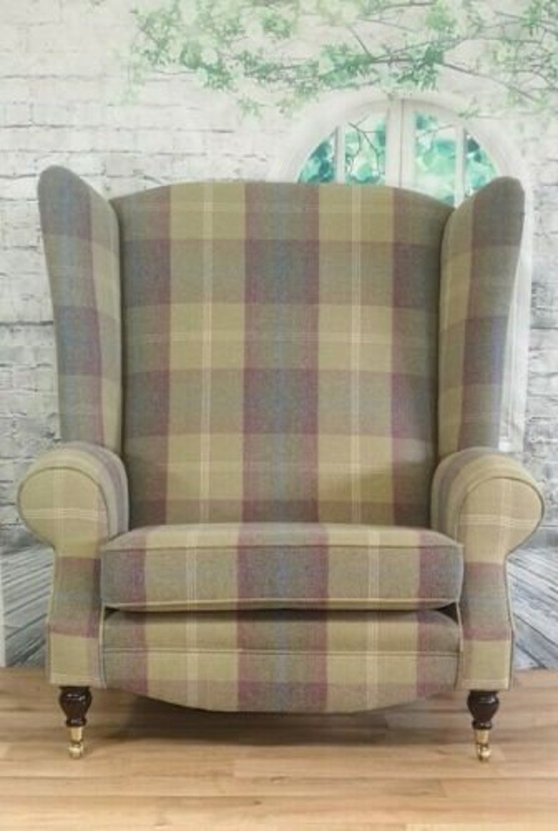 Queen Anne Wing Back Cottage Fireside Chair Extra Tall High Back Extra Wide Balmoral Pistashio Tartan Fabric Dark Wooden Legs