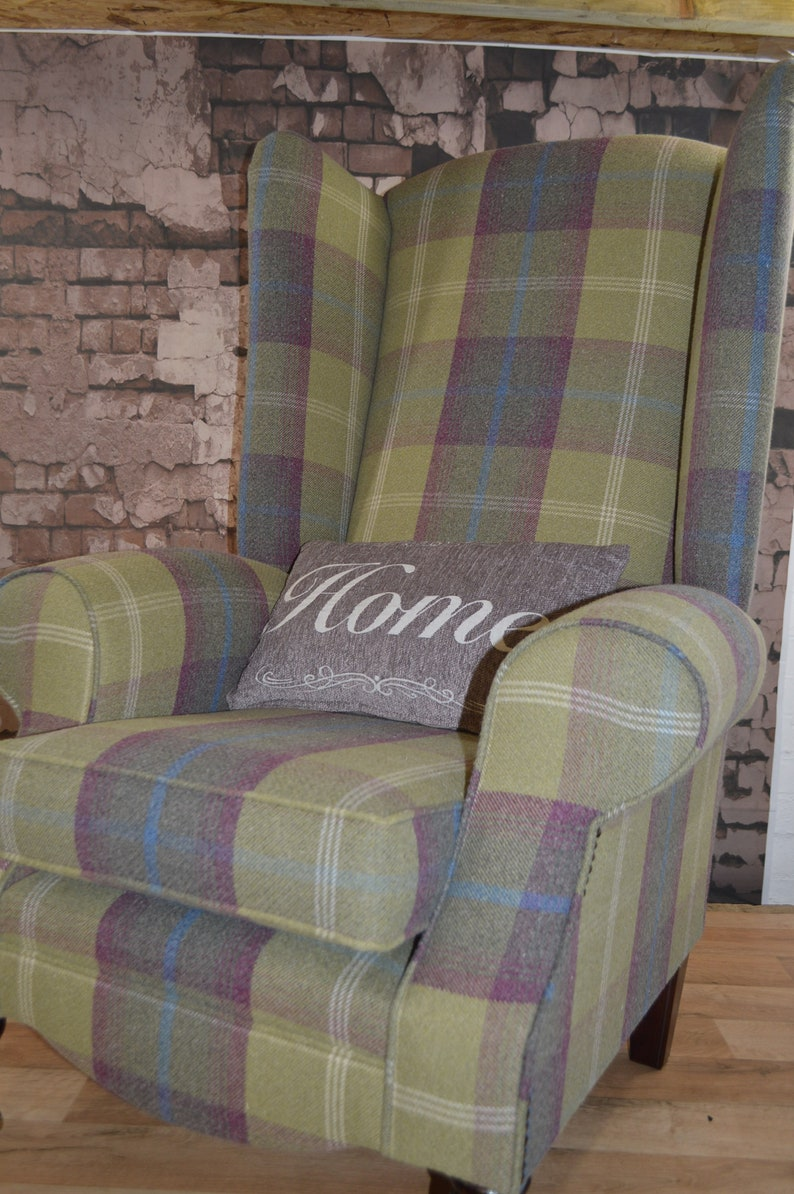 Queen Anne Wing Back Cottage Fireside Chair Extra Tall High Back Pistashio Green Tartan
