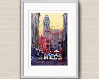 WILL ELLISTON Fine Art Print of Spanish City Street Calaf Watercolour Painting Urban New Giclee High Quality Vibrant Impressionist Scene