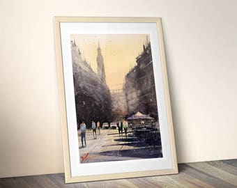 WILL ELLISTON Fine Art Print of Spanish City Street Logrono Watercolour Painting Urban New Giclee High Quality Vibrant Impressionist Scene