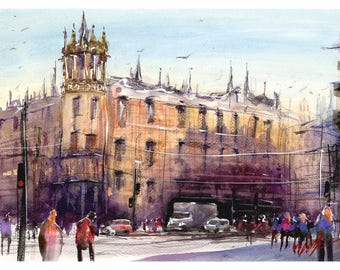 WILL ELLISTON Fine Art Print of Spain City Street Rotonda Barcelona Watercolour Painting Urban Giclee High Quality Town Impressionist Scene