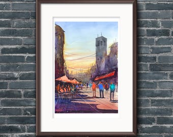 WILL ELLISTON Fine Art Print Spanish City Street Toledo Town Watercolour Painting Urban New Giclee High Quality Vibrant Impressionist Scene