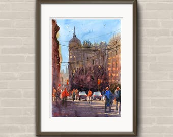 WILL ELLISTON Fine Art Print Spanish City Street Malaga Town Watercolour Painting Urban New Giclee High Quality Vibrant Impressionist Scene